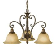 Kelham Hall 3 Light Fitting in a Gold/Bronze Finish with India Scavo Glass Shades - FEISS FE/KELHALL DN3LT